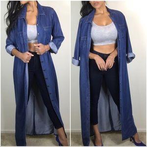 Boston Proper long denim dress/jacket 8